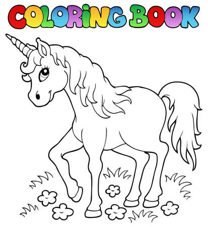 legendary: Coloring book unicorn theme 1 - vector illustration  Illustration
