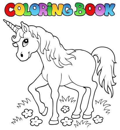 Coloring book unicorn theme 1 - vector illustration  Ilustrace