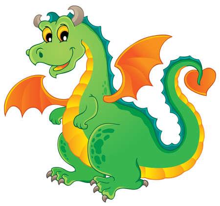 fairytale character: Dragon theme image 1 - vector illustration