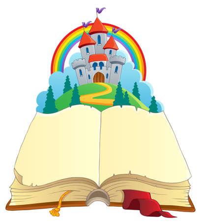 castello fiabesco: Fairy tale tema immagine prenotare 1 - illustrazione vettoriale Vettoriali