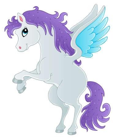 horse fly: Fairy tale pegasus theme image 1 - vector illustration