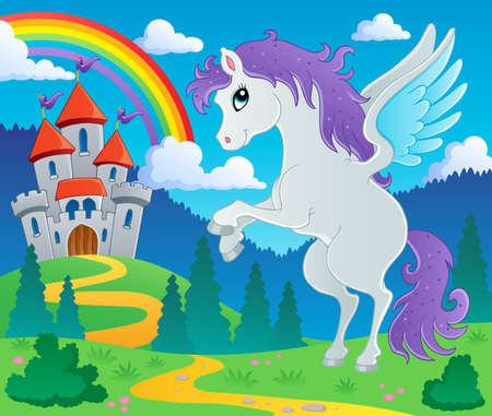 arcoiris caricatura: Cuento de hadas pegasus tema image 2 - ilustración vectorial