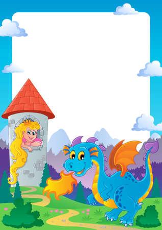 wyvern: Fairy tale theme frame 2 - vector illustration