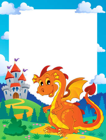 wyvern: Fairy tale theme frame 3 - vector illustration  Illustration