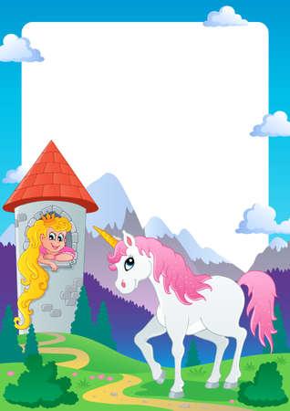 castillos de princesas: Fairy tale marco temático 4 - ilustración vectorial