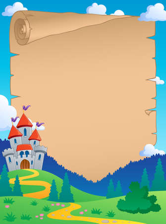 fairytale castle: Fairy tale theme parchment 4 - vector illustration
