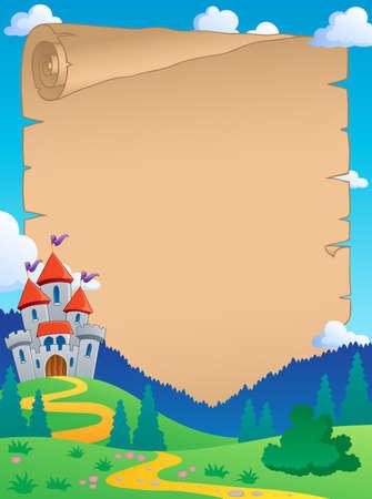 castello fiabesco: Fata tema pergamena racconto 4 - illustrazione vettoriale