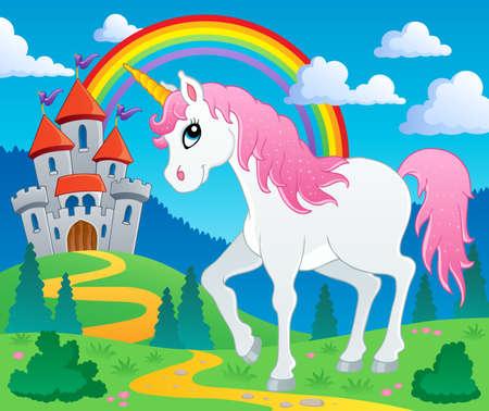 castillos: Cuento de hadas unicornio tema image 2 - ilustración vectorial Vectores