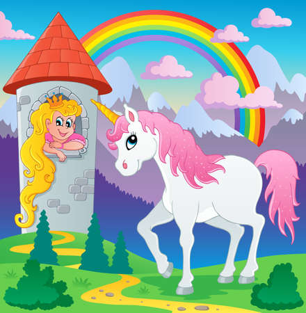 Fairy tale unicorn theme image 3 - vector illustration  Vector