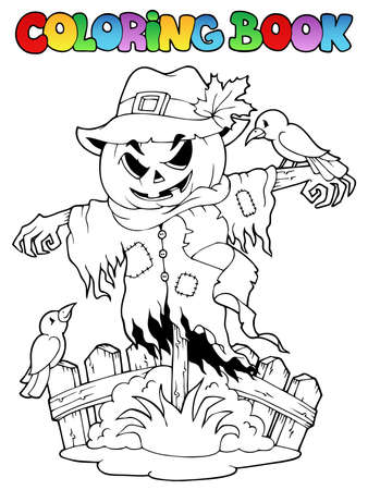 scare: Coloring book Halloween scarecrow