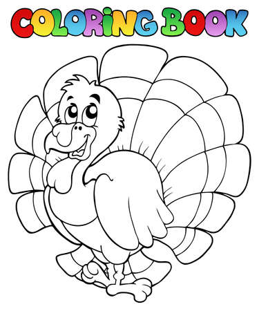 Coloring book happy turkey  Vector