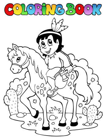 Coloring book Indian   Vector
