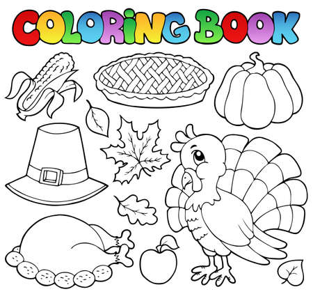 pumpkin pie: Coloring book Thanksgiving  Illustration