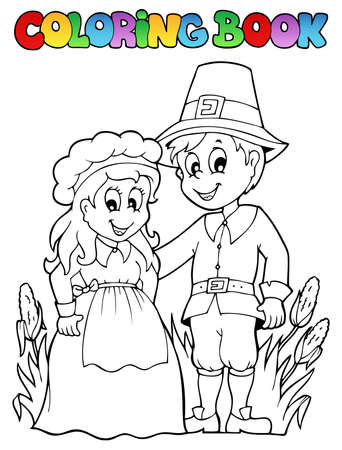 pilgrim costume: Coloring book Thanksgiving