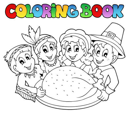 Coloring book Thanksgiving  Vector