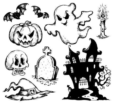 haunted house: Halloween drawings