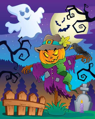 calabaza caricatura: Halloween espantapájaros Vectores
