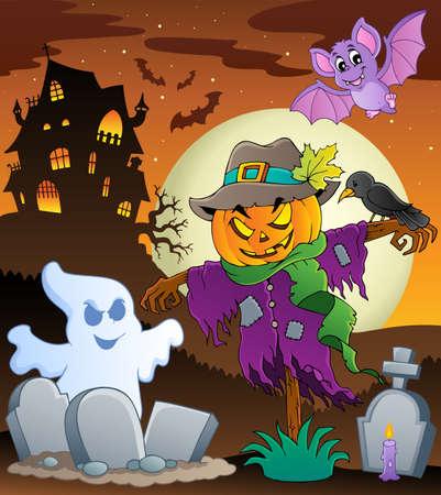 scarecrow: Halloween espantap�jaros imagen tema Vectores