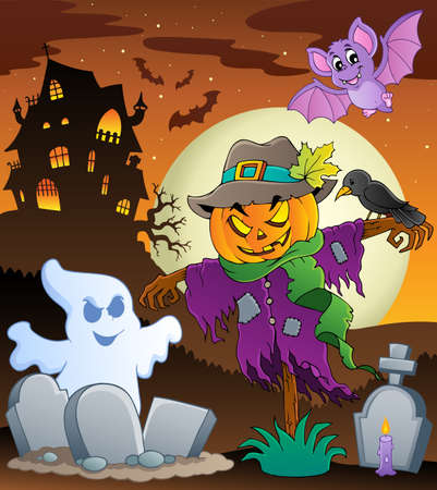 haunting: Halloween scarecrow theme image Illustration