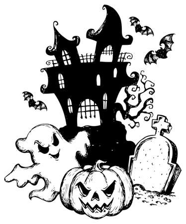 fright: Halloween theme drawing