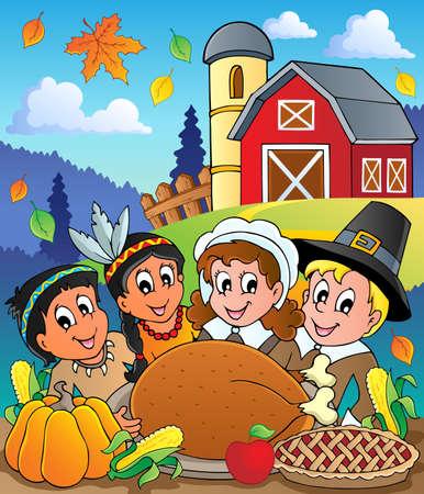 indian thanksgiving: Thanksgiving pilgrim theme Illustration