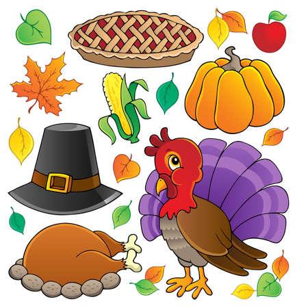 cartoon autumn: Thanksgiving theme collection