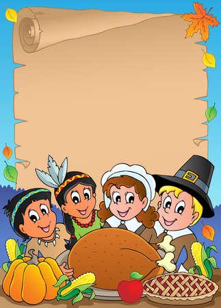 p�lerin: Parchemin th�me de Thanksgiving 5 - illustration vectorielle Illustration