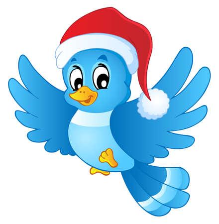 flying hat: Blue bird in Christmas hat Illustration