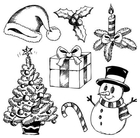 monocrom�tico: Desenhos estilizados de Natal Ilustra��o