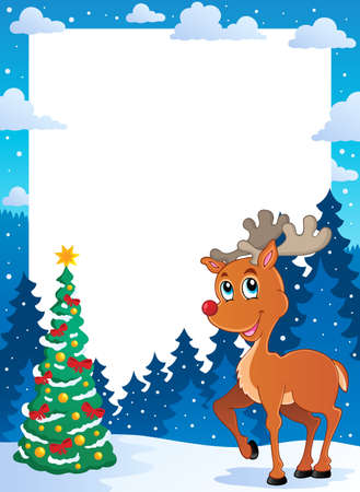 Christmas theme frame Vector