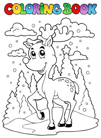 Coloring book reindeer theme 1 - vector illustration