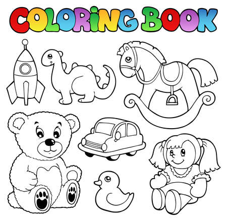rocking horse: Coloring book toys theme 1 - vector illustration