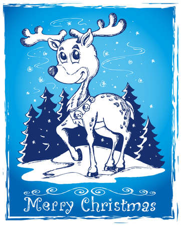Reindeer theme drawing 2 - vector illustration  Vector