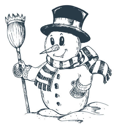 snow cap: Winter snowman theme Illustration