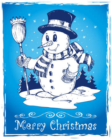 Winter snowman theme drawing 3 - vector illustration Stock Vector - 15823986