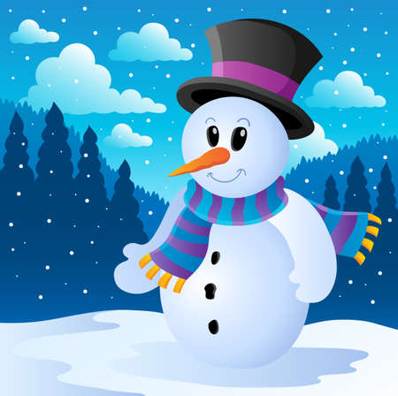 snowing: Winter snowman theme image
