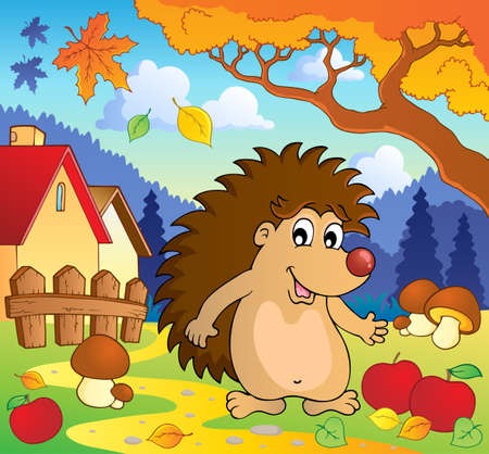 Autumn scene with hedgehog 1  Illustration