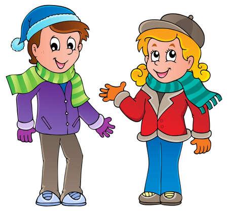 ropa de invierno: Dibujos animados para niños imagen Tema 1