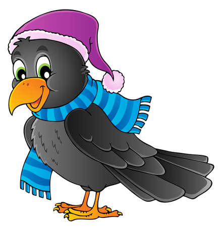 Cartoon raven theme image 1  Vector