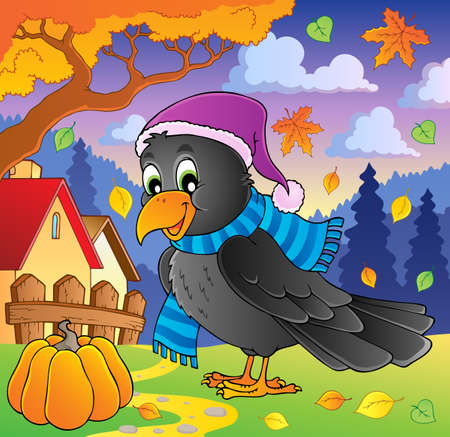 Cartoon raven theme image 2 Vector