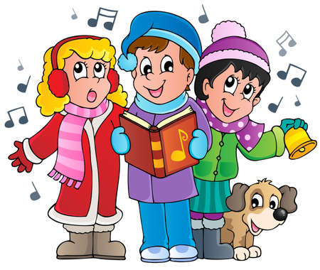 Christmas carol singers theme 1  Illustration