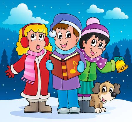 Christmas carol singers theme 2  Vector