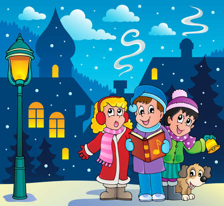 marry christmas: Christmas carol singers theme 3  Illustration