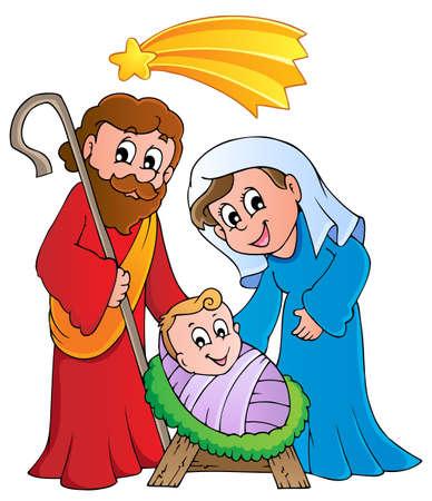 winter scene: Christmas Nativity scene 1  Illustration