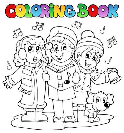 livre � colorier: Coloriage th�me chantant livre Carol 1