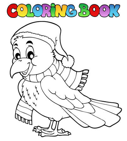 crow: Coloring book cartoon raven
