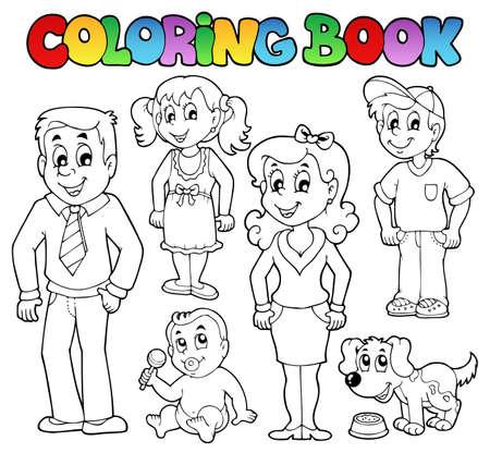 perro familia: Colorear colección de libro de familia 1 Vectores