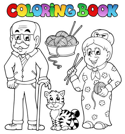 coloring: Coloring book family collection 2 - vector illustration