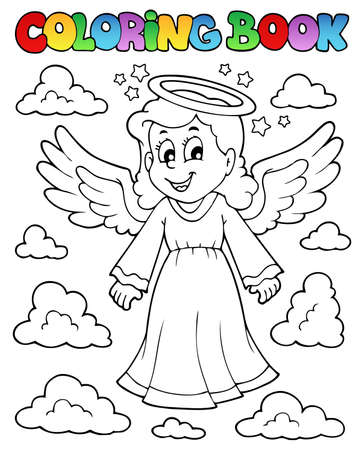 Coloring book image with angel 1  Vector