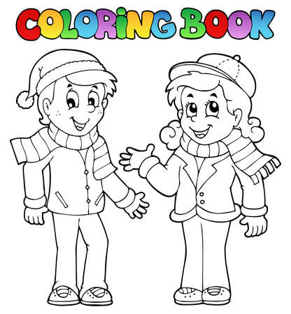 Coloring book kids theme 1  Illustration